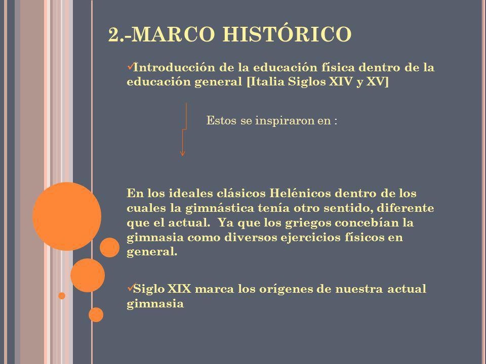 2.-MARCO HISTÓRICO Introducción de la educación física dentro de la educación general [Italia Siglos XIV y XV]